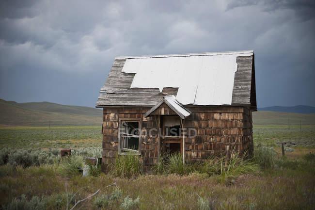 Abandoned countryside house in green landscape, Phoenix, Arizona, USA — Stock Photo