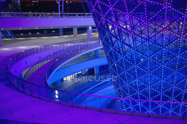 Colored walkways in modern building at night, Shanghai Expo, Shanghai, China — Stock Photo
