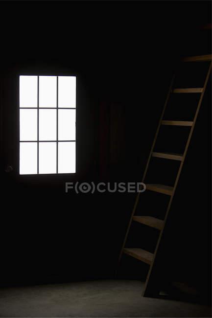 Barn doorway and loft ladder, still life — Stock Photo