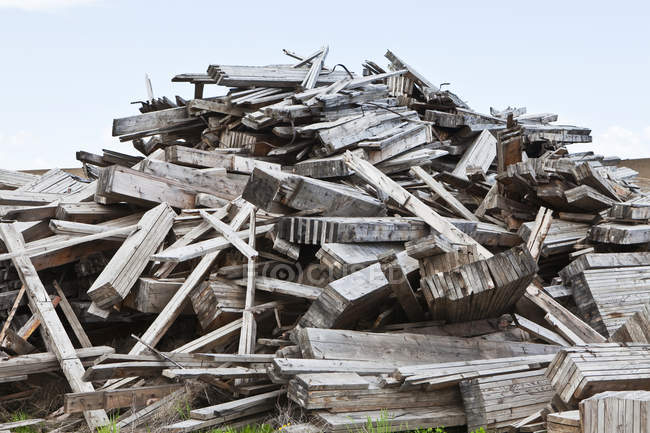 Pile of wooden debris stacked outdoors, Palouse, Washington, USA — Stock Photo