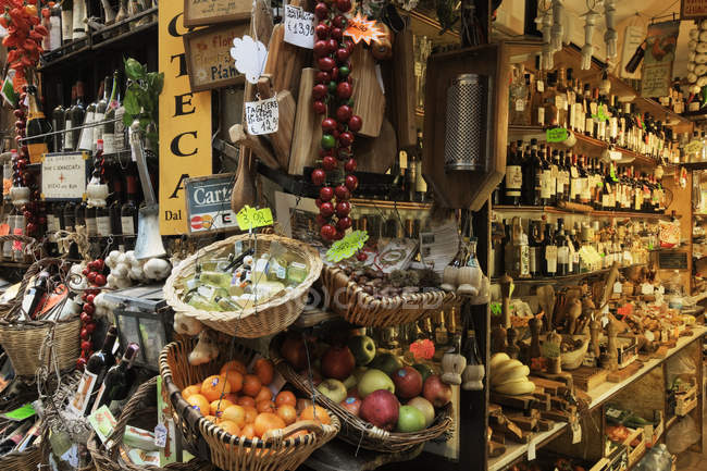 Italian delicatessen of market in Macelleria in Italy, Europe — Stock Photo