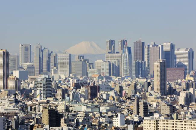 El horizonte de Shinjuku con Fuji Mountain en Tokio, Japón - foto de stock