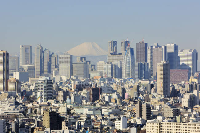 Ligne d'horizon de Shinjuku avec Fuji Mountain à Tokyo, Japon — Photo de stock