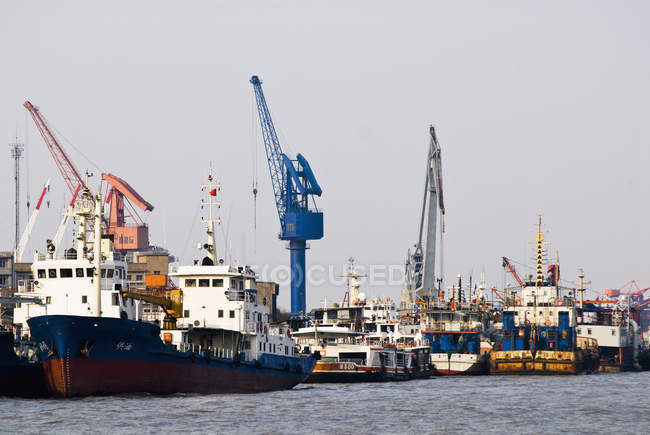 Seaport with cargo ships and cranes on Huangpu River, Shanghai, China — Stock Photo