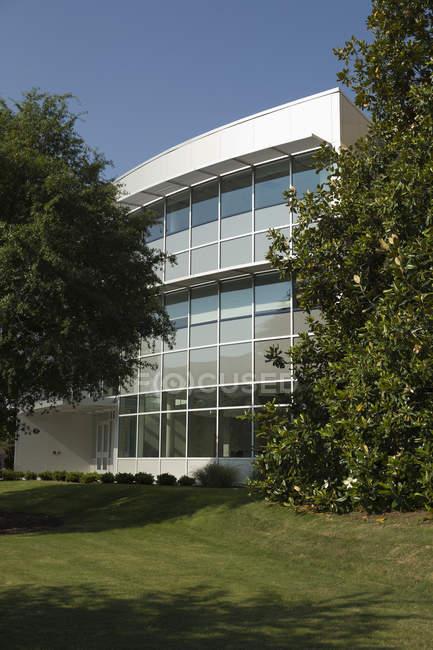 Moderno edificio per uffici nel fogliame degli alberi, Norfolk, Virginia, Stati Uniti d'America — Foto stock