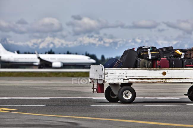 Прицеп для багажа на асфальте аэропорта в Сиэтле, Вашингтон, Сша — стоковое фото