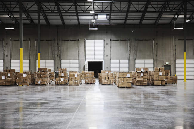 Cardboard boxes at loading dock in warehouse, Sumner, Washington, USA — Stock Photo