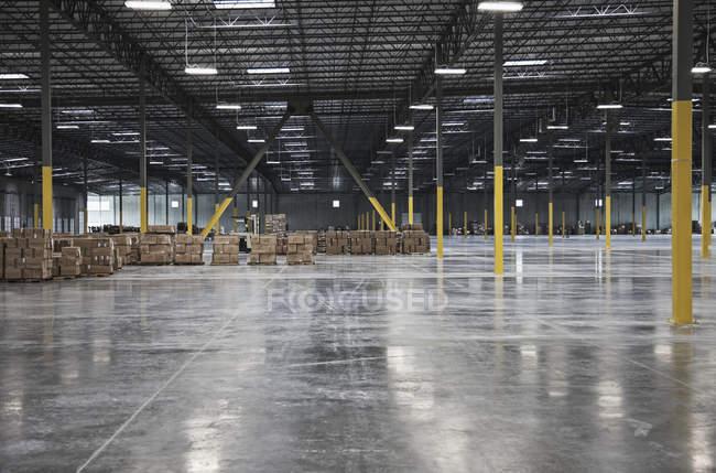 Boîtes en carton à distance dans l'entrepôt, Sumner, Washington, Etats-Unis — Photo de stock