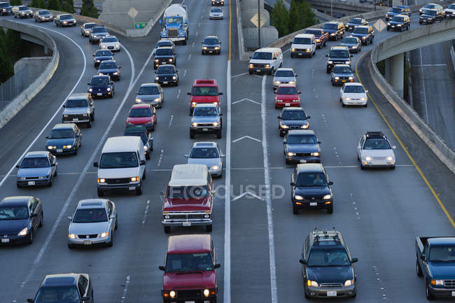 Cars on freeway in Seattle, Washington, USA — Stock Photo
