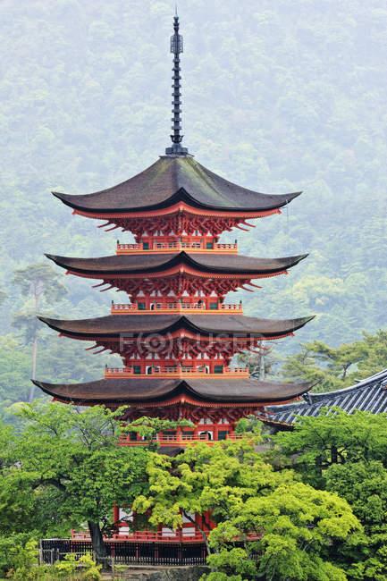 Pagoda in green trees at Honshu island, Japan, Asia — Stock Photo