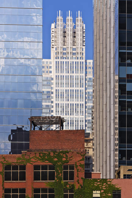 Downtown Chicago buildings, old and modern, Illinois, USA — Fotografia de Stock