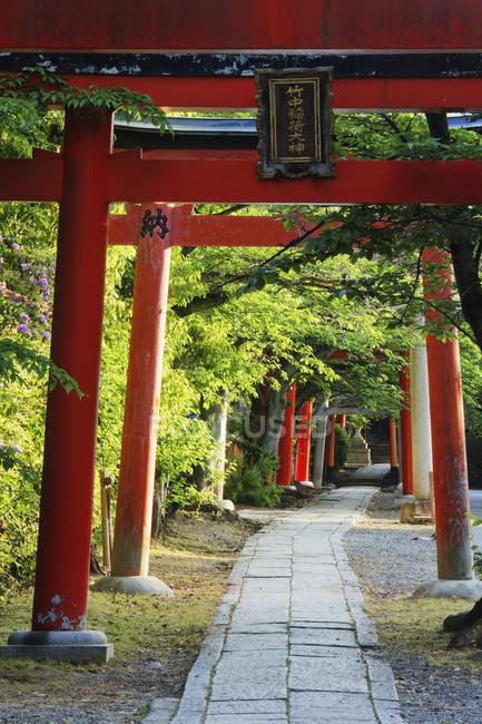 Steinweg und japanische Bögen in Kyoto, Japan — Stockfoto