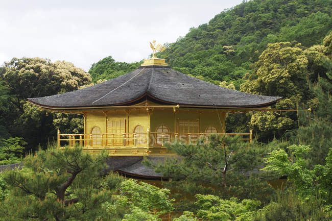 Top of yellow Pagoda building in woods of Kyoto, Japan — Stock Photo