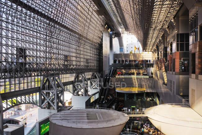 Scenic modern interior of atrium at train station in Kyoto, Japan — Stock Photo