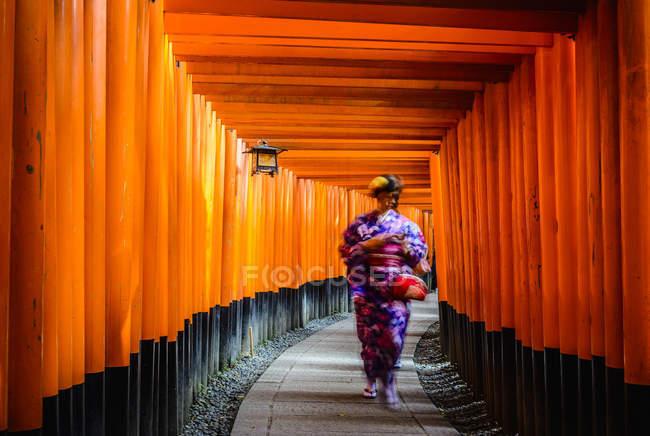 Femme en kimono marchant sous les piliers en bois de la porte traditionnelle Fushimi Inari, Fushimi-ku, Kyoto, préfecture de Kyoto, Japon — Photo de stock