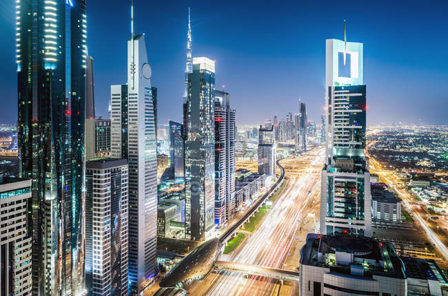 Aerial view of Dubai cityscape, United Arab Emirates — Photo de stock