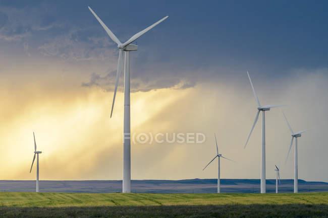 Wind turbines at sunset under scenic dramatic sky, Montana, USA — Stock Photo