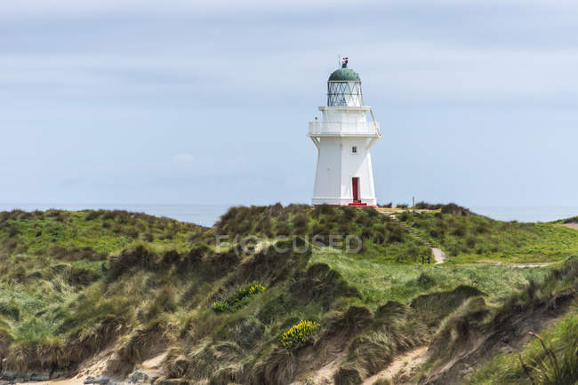 Lighthouse at grassy coastline of Waikawa Point, New Zealand — Stock Photo