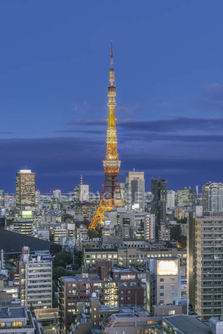 Tokyo Tower and cityscape at night in Tokyo, Japan — Photo de stock