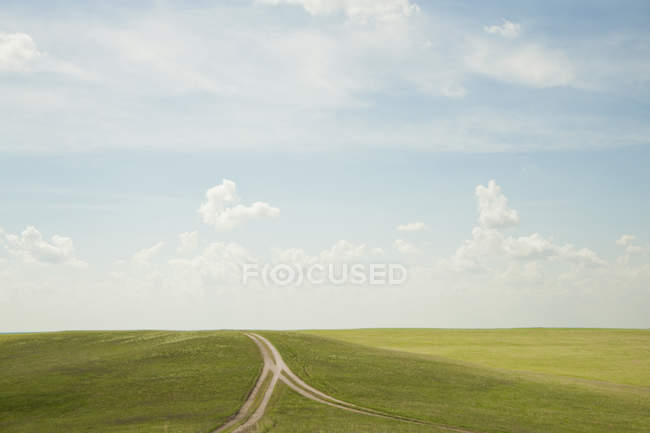 Forked dirt road in remote landscape — Fotografia de Stock