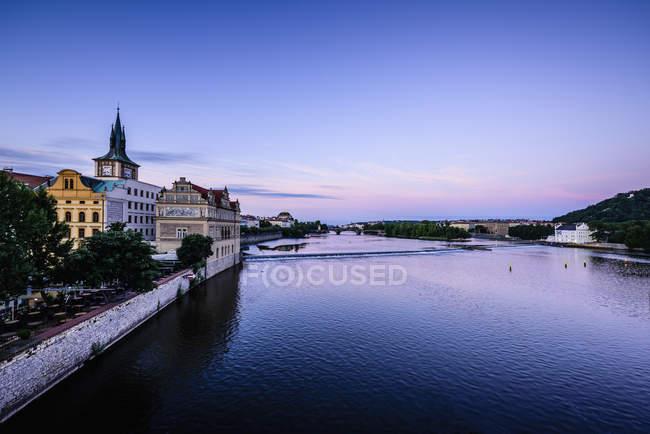 Blue sky over Prague waterfront, Czech Republic — Stock Photo