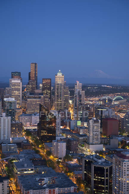 Aerial view of Seattle skyline lit up at night, Washington, United States — Photo de stock