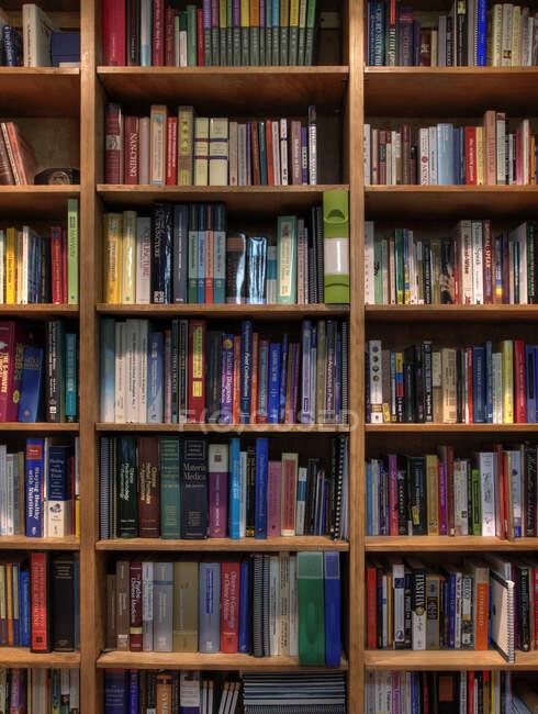 Книги організовані на книжкових полицях. — стокове фото