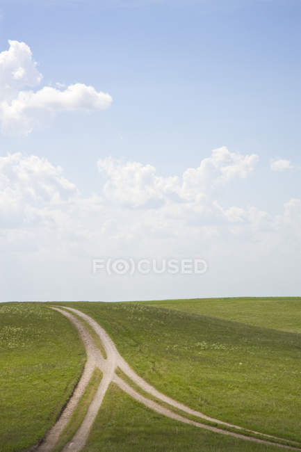 Forked dirt road in remote hilly landscape — Fotografia de Stock