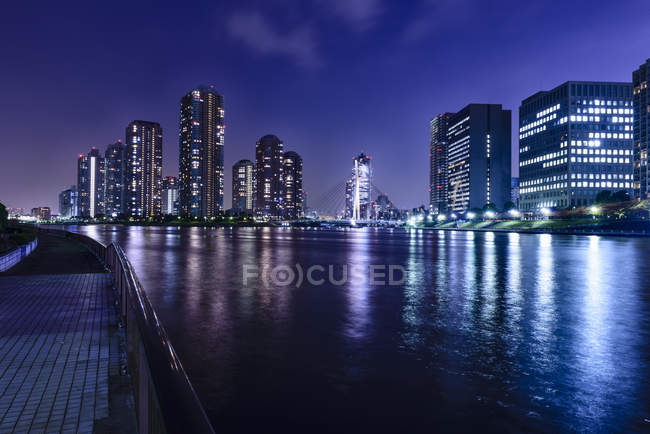Silhouettes of Tokyo skyscrapers in lit up cityscape at night, Tokyo, Japan — Photo de stock