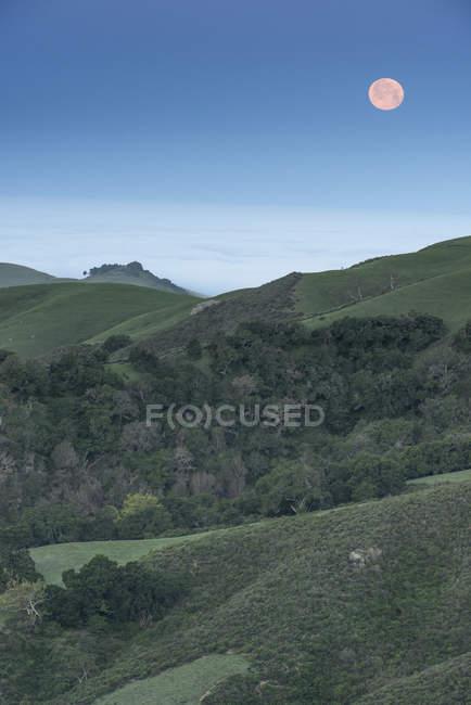 Lua subindo sobre a paisagem rural com bosques — Fotografia de Stock