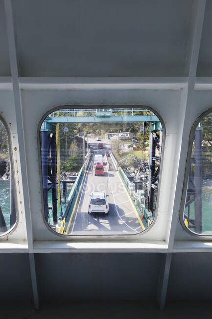 Bridge viewed through ferry boat window — Stock Photo