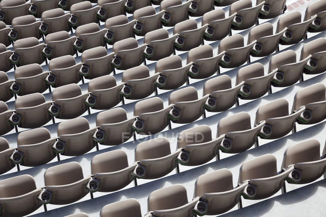 High angle view of empty auditorium seats in rows. — Stock Photo