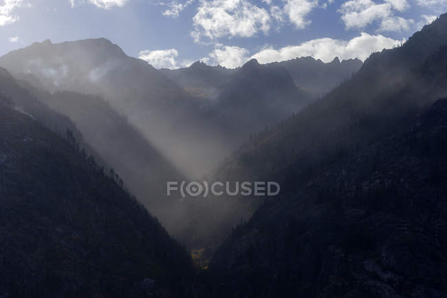 Burned trees on rural mountainsides in scenic mountains — Stock Photo