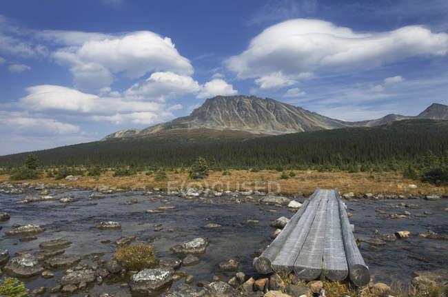 Pasarela de hormigón sobre el río en paisaje remoto en Jasper, Alberta, Canadá - foto de stock