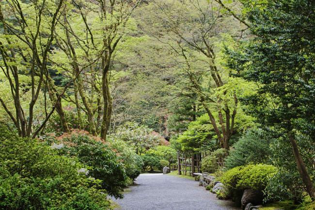 Gravel walkway in Japanese Garden, Portland, Oregon, United States — Stock Photo
