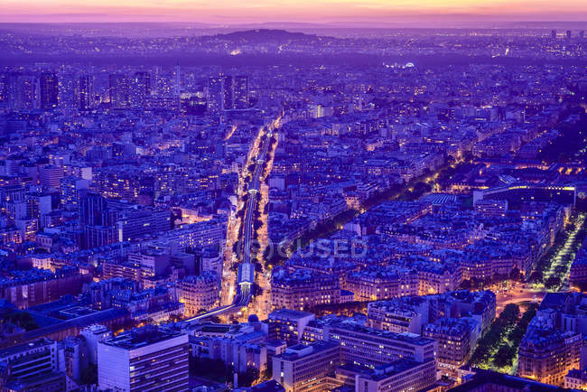 Aerial view of Paris cityscape at night, France — Stock Photo