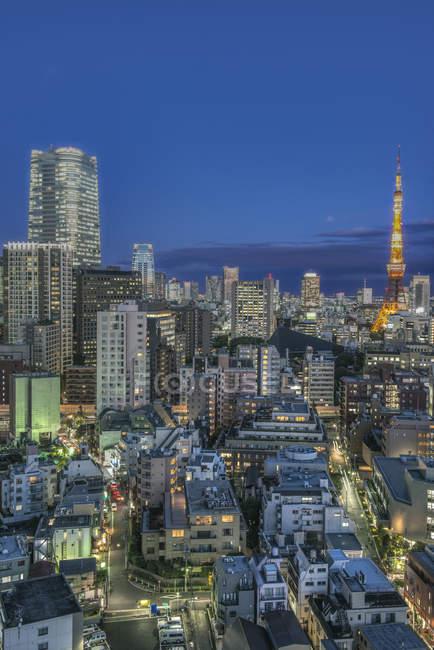 Tokyo cityscape lit up at night, Tokyo, Japan — Photo de stock