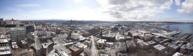 Повітряних панорамний вид на міський пейзаж Сіетла, штат Вашингтон, США — стокове фото