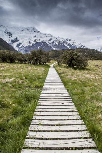 Wooden boardwalk towards mountain range, New Zealand — Stock Photo