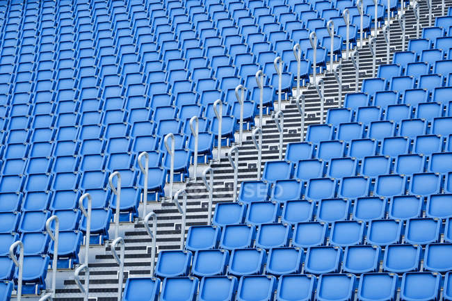 Blue seats rows in sports stadium, Edinburgh, Scotland, UK — Stock Photo