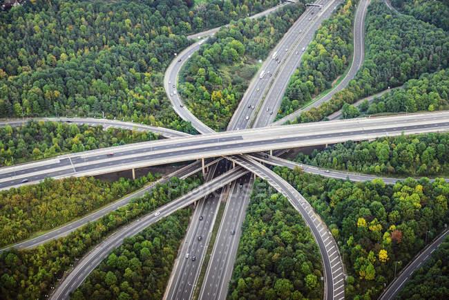 Вид с воздуха на пересекающиеся шоссе возле деревьев, Лондон, Англия — стоковое фото