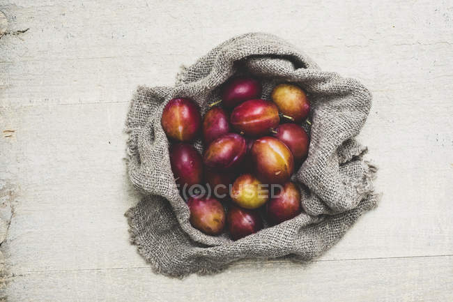 High angle close-up of fresh damsons on grey cloth. — Stock Photo