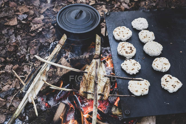 High angle close-up of fish on skewers and freshly made buns over campfire. — Foto stock