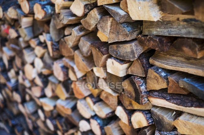 Full frame of rustic stacked firewood logs. — Stock Photo