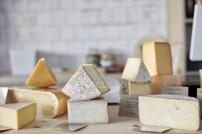 Seleção dos queijos no contador na loja de leiteria — Fotografia de Stock