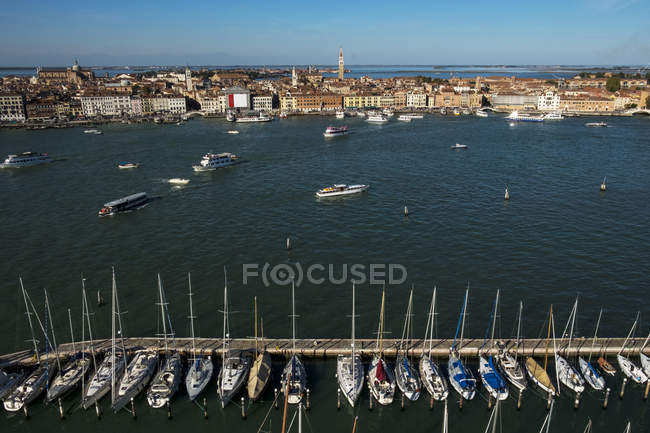 High angle view of Canale Grande in Venice, Veneto, Italy with gondolas moored on water — Stock Photo