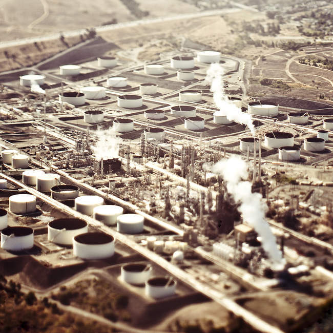 Aerial view of industrial plant in desert landscape — Stock Photo