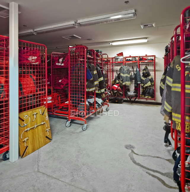 Fire station equipment room, Seattle, Washington, Stati Uniti — Foto stock
