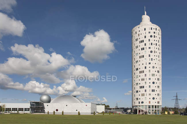 Modern science center building and Tigutorn Tower in Tartu, Estonia, Europe — стокове фото