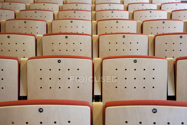 Empty seating in traditional music center, full frame — Stock Photo